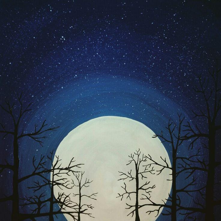 Painting, trees and moon, nightsky, stars