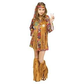 • Fun fringe accents<br>• Iconic style<br>• Soft, polyester construction<br>• Includes: dress with attached vest, bootcovers & headband<br>• Hand wash only<br><br>The Girls' Peace and Love, Hippie Costume pays homage to a revolutionary era with its iconic details and free-spirit style. Quick and easy, this all-in-one costume is ready to rock this Halloween season.
