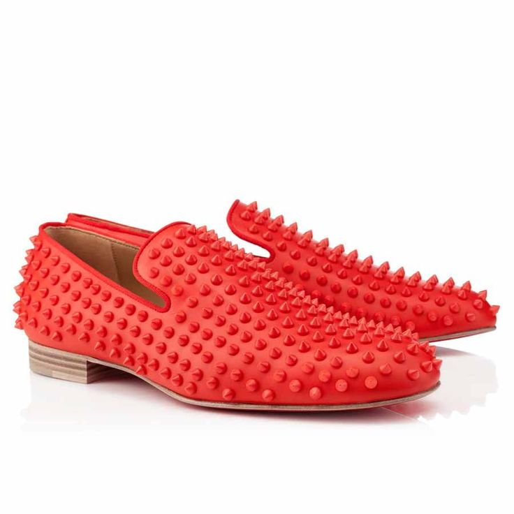 SPARKLE STYLE Classic Mens Red Bottom Shoes Christian Louboutin Rollerboy  Spikes Corazon Leather Studded Loafer Flats