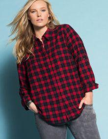 Zizzi Check cotton shirt  in Red / Black