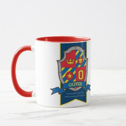 Oliver knight shield red blue name meaning mug - home gifts ideas decor special unique custom individual customized individualized