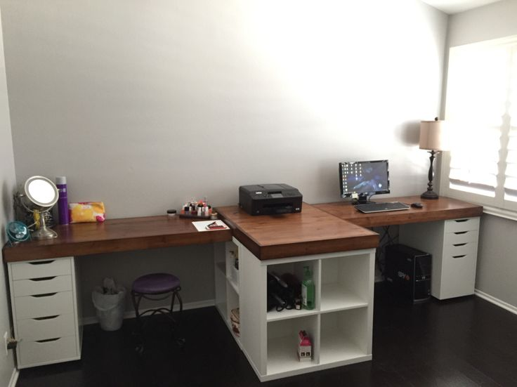 His and hers desk IKEA hack. IKEA base cabinets with custom stained wood top. All for about $350!