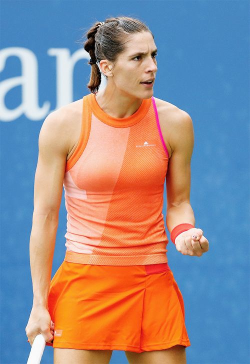 Andrea Petkovic during her match against Jennifer Brady on Day Two of the 2017 US Open on August 29, 2017