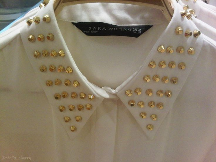 embellished collars.: Studs Collars, Zara Studs, Style Inspiration, Breakfast, Blouses Studs, Zara Blouses, Collars Necklaces, Closet, Embellishments Collars