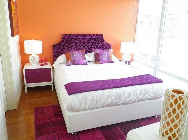 De combinatie van perzik en paarse foto