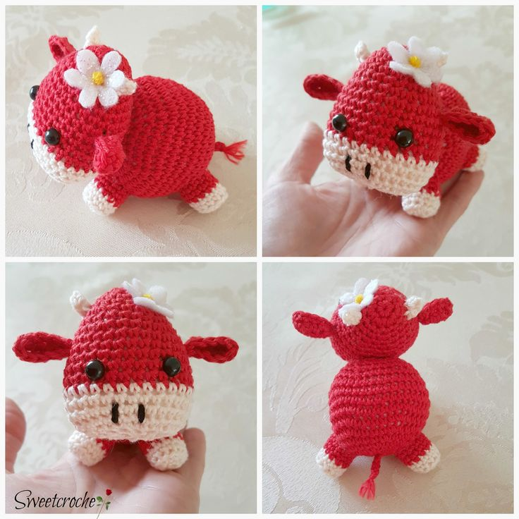 Crochet little cow with daisy !