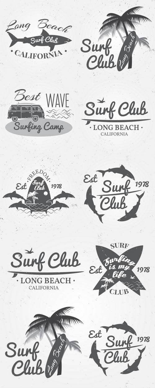 Surf Club Summer Surfing Retro Badge More