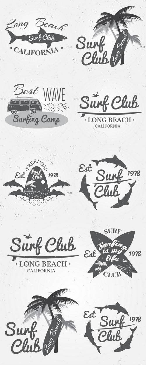 Surf Club Summer Surfing Retro Badge                                                                                                                                                     More