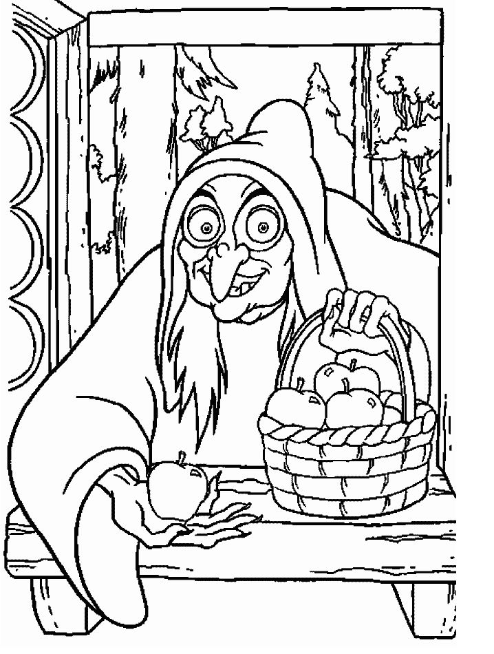disney villains coloring pages walt disney coloring pages the witch - Disney Villain Coloring Pages