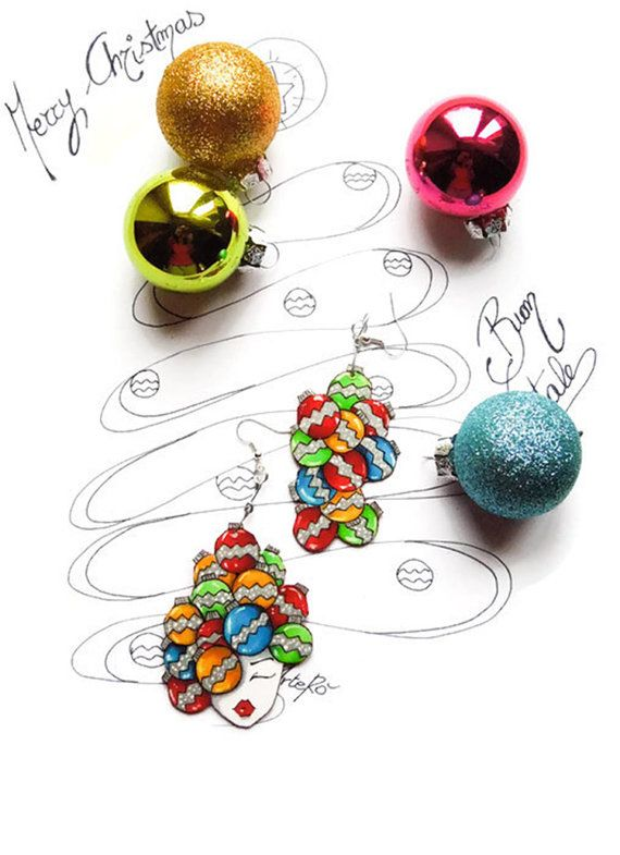Christmas Earrings  Christmas balls pendant  by TheRollyS on Etsy