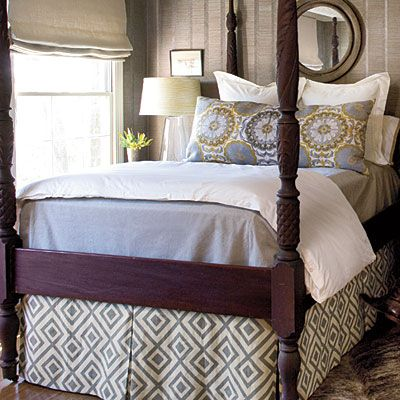 The Bed Guest Room Redo Grey Skirts And Poster Beds