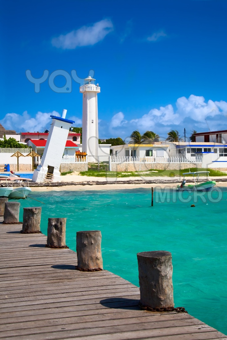 Old tilted and new lighthouses in Puerto Morelos near Cancun, Quintana Roo, Mexico #Caribbean