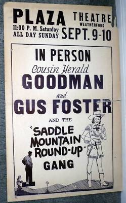 Weatherford TX Texas Cowgirl Original 1940's Poster Local Concert