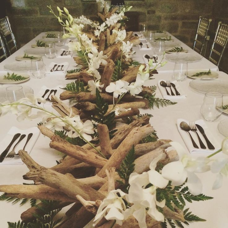 Orchids And Driftwood Centrepiece Tropical Luxe Wedding