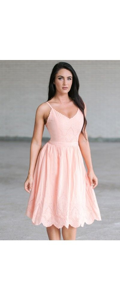 Lily Boutique Blink Of An Eyelet A-Line Midi Dress in Apricot, $50 Peach Pink…