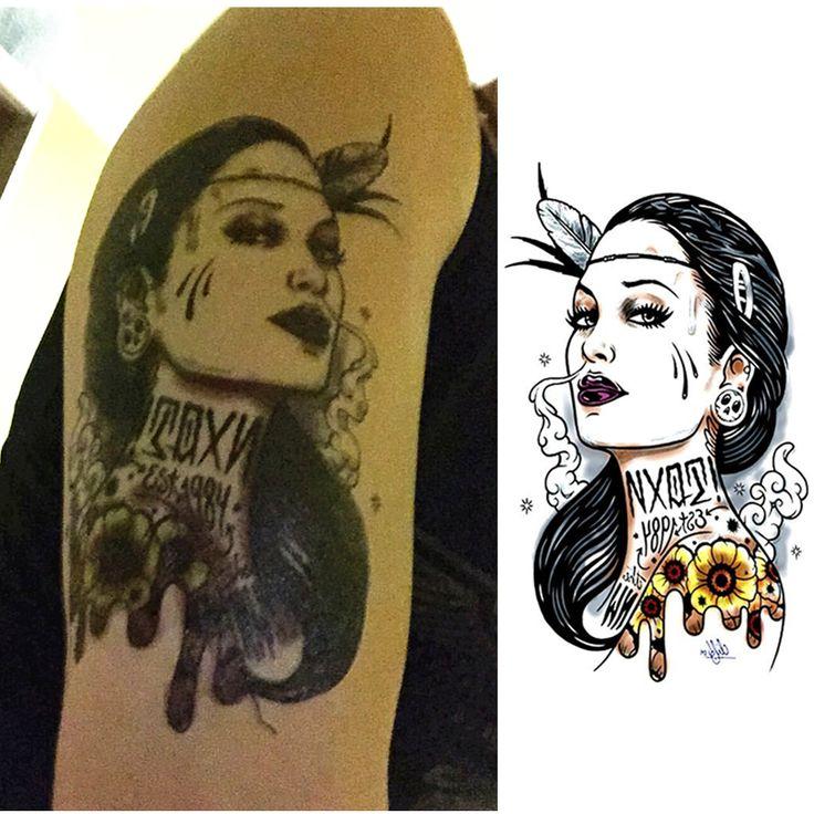 Майя воительница временные татуировки боди-арт рукав рука флэш-тату наклейки 12 * 20 см водонепроницаемый Tatto хна поддельные тату наклейка