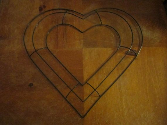 Heart Shaped Wire Wreath Frame 13 1/2 inches across