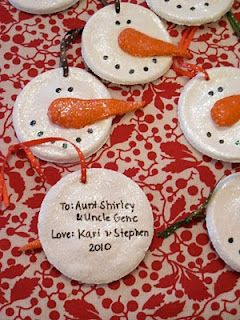 salt dough snowmen ornaments. Fun of make with little ones on snow days.
