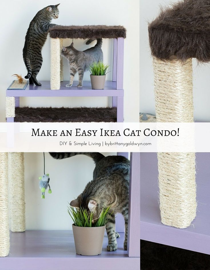 Learn how to make an easy, affordable, and aesthetically pleasing cat condo for your kitties using Ikea tables! | diy cat condo, diy scratching post, make a cat tree