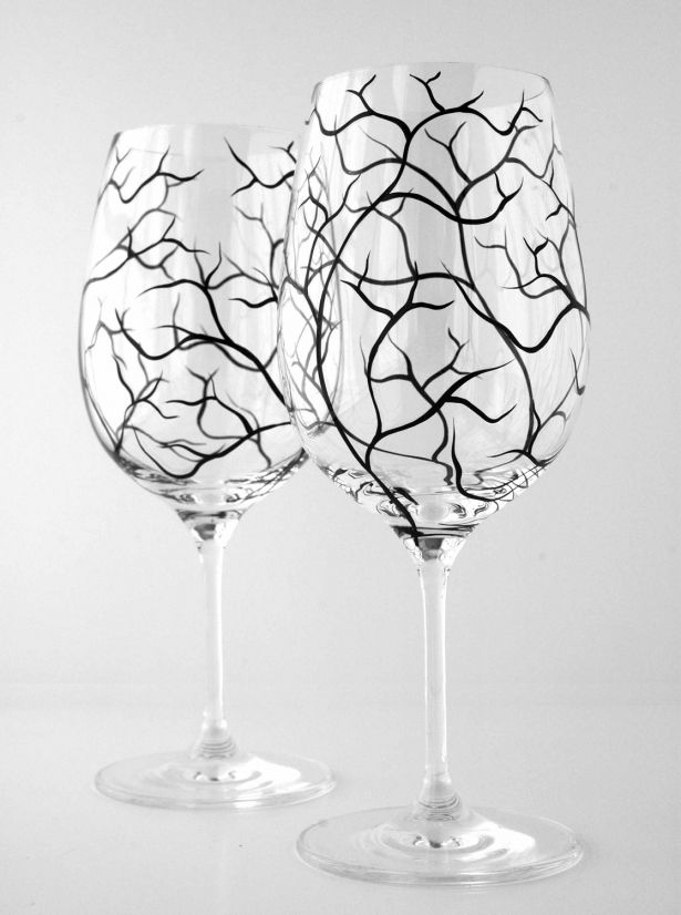 Hand Painted Wine Glasses With Black Tree Branches - Pair Of 2 by Mary Elizabeth Arts on Gourmly