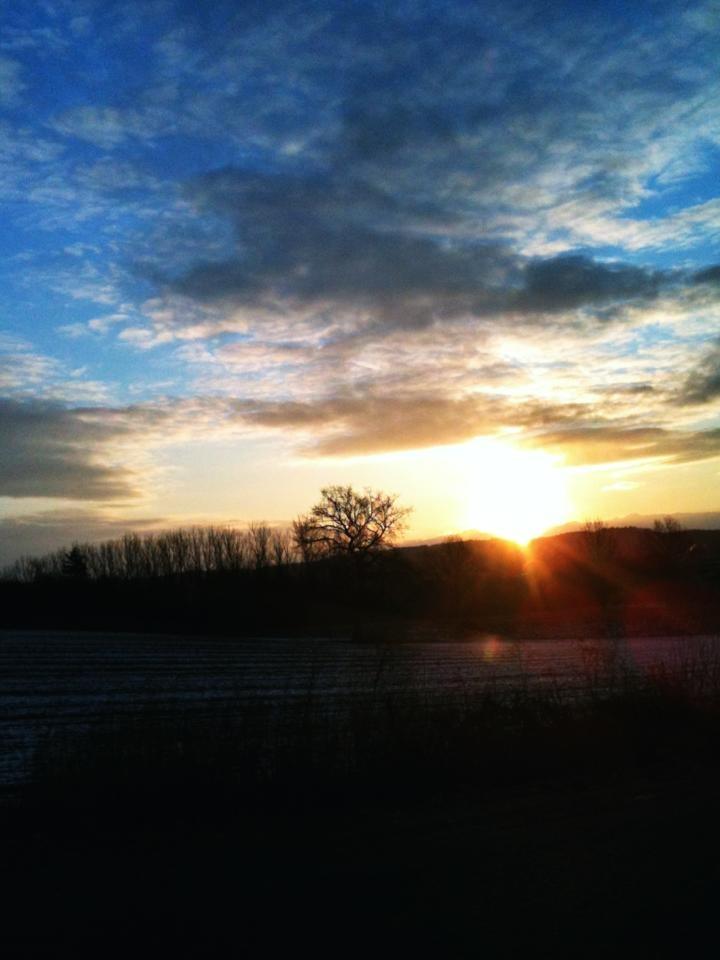 Sonnenaufgang in Gießen. Leihgesterner Weg. 21.02.2013