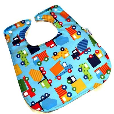 Trucks Trucks Trucks! These Bamboo Super Bibs will every inch of your little ones clothes spotless and look cute at the same time.