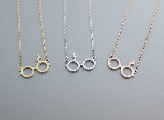 Harry Potter Gafas Colgante Collar-12 unids/lote (3 Colores Colocación Libre)-Oro y Plata y Rosa oro