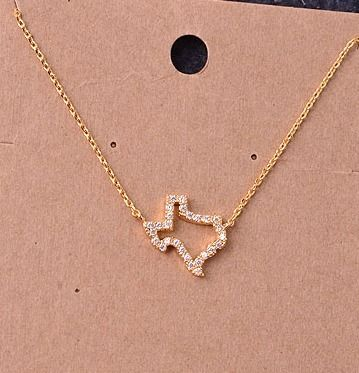 Gold Texas Necklace with Stones - Longhorn Fashions