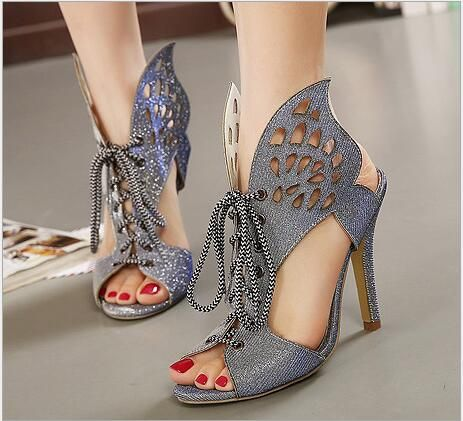 Hot 2016 Fantasy butterfly Wings Hollow Department Of Octopus Mouth High Heels…