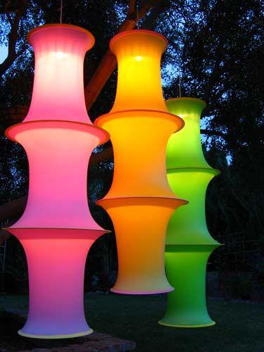 ♥Wonder Outdoor, Outdoor Lanterns, Outdoor Lighting, Neon Outdoor Party, Outdoor Parties, Embroidery Hoop, Outdoor Neon Party
