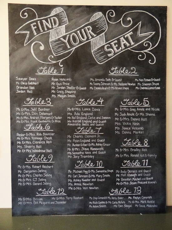 Chalkboard Wedding Seating Chart