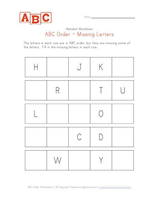 Hard Abc Order Missing Letters Worksheet
