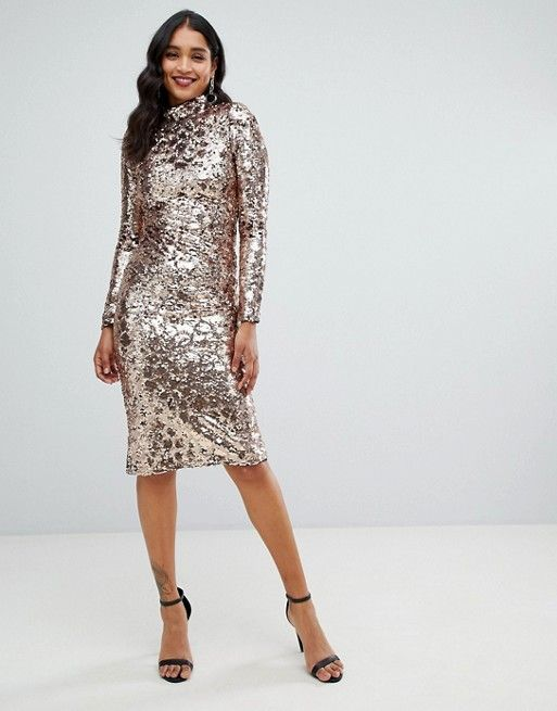 0d9e0ae248033 TFNC high neck sequin midi dress in gold | my style | Sequin midi ...