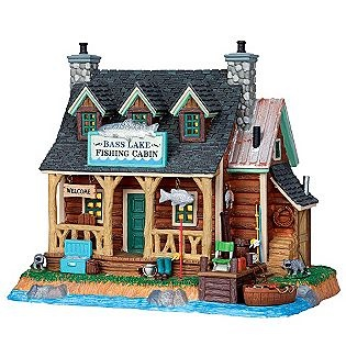 Lemax Village Collection  Christmas Village Building, Porcelain Lighted House, Bass Lake Fishing Cabin With 6-Foot Cord