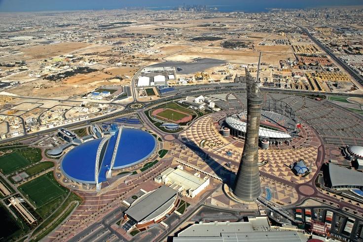 Doha | Aerial view of Aspire Zone. view on Fb https://www.facebook.com/SinbadsQatarPocketGuide  credit: Khalifa International Stadium #qatar