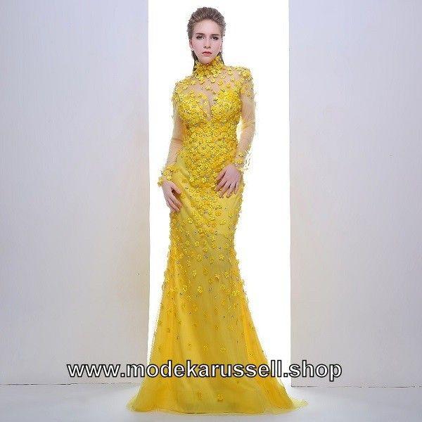 Langarm Abendkleid 2018 Gertrude in Gelb