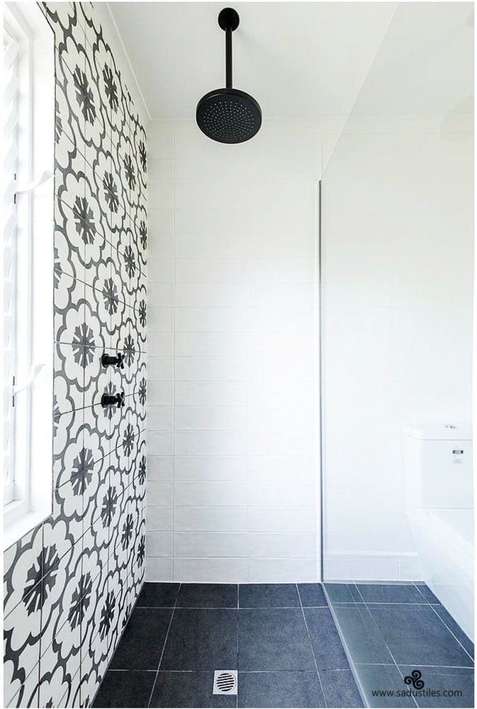 Sadus Tiles handmade cement tiles form Bali - Indonesia. Stylish shower