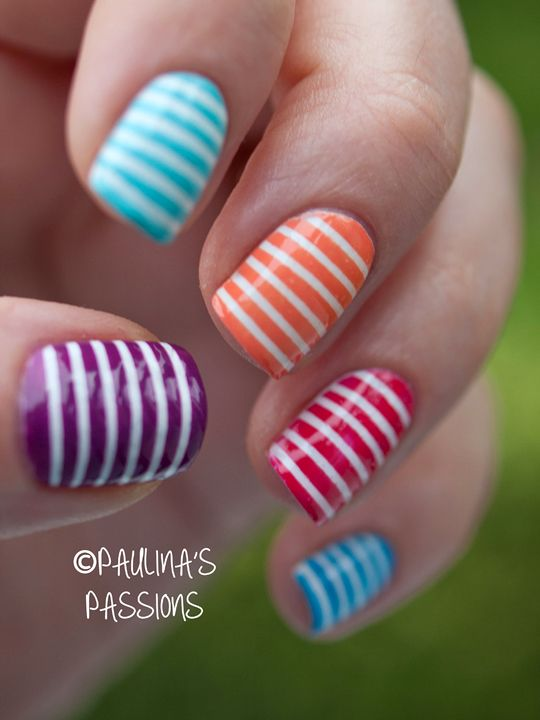 Striped Nails Colorful Skittle | See more at http://www.nailsss.com/...  | See more nail designs at http://www.nailsss.com/nail-styles-2014/