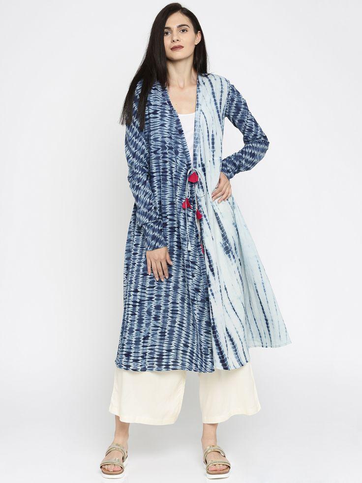 JAYPORE Women Blue & Off-White Dyed Anarkali Kurta
