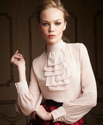 Frilly Blouses for Women | Giambattista Valli for Impulse Top, Long Sleeve Ruffle Front Blouse
