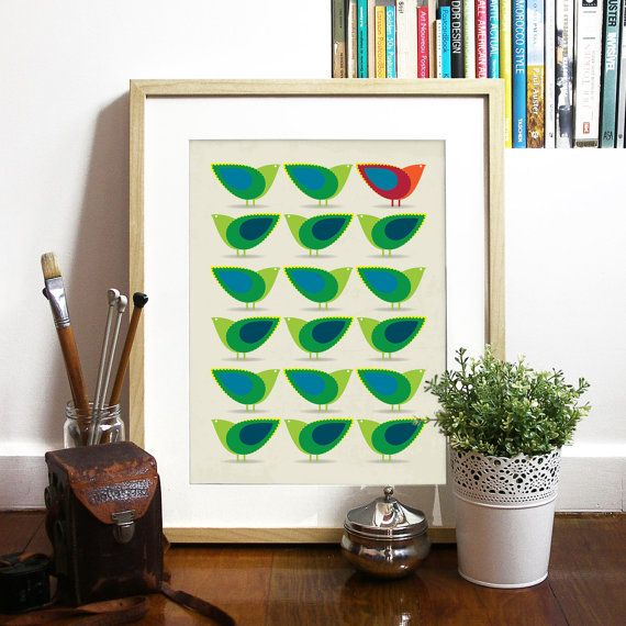 Mid Century design inspired Birds Illustration Print Art Poster in Green and Blue - A3 poster print - Cathrineholm art print poster on Etsy, $23.00