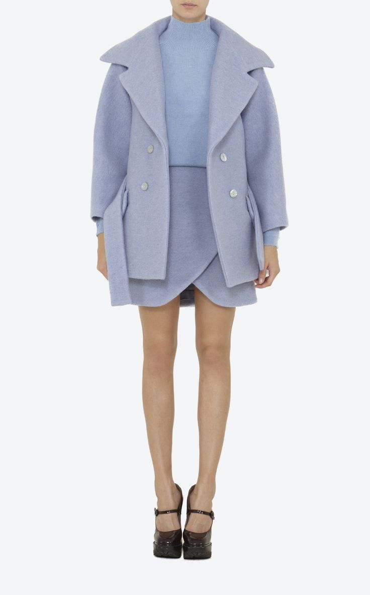 CARVEN Crushed wool belted short coat, large collar, two button fastening, two piped flat pockets