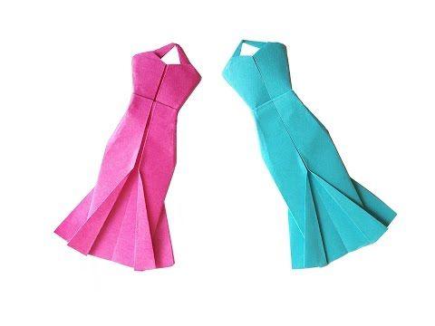 origami kleid falten mit papier basteln mit kindern diy basteln ideen origami kleidung. Black Bedroom Furniture Sets. Home Design Ideas