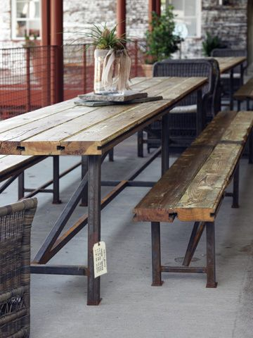 I don't think star provisions actually makes tables, and if they did, pretty sure I wouldn't be able to afford, but I love these old heart-pine and metal tables/benches.