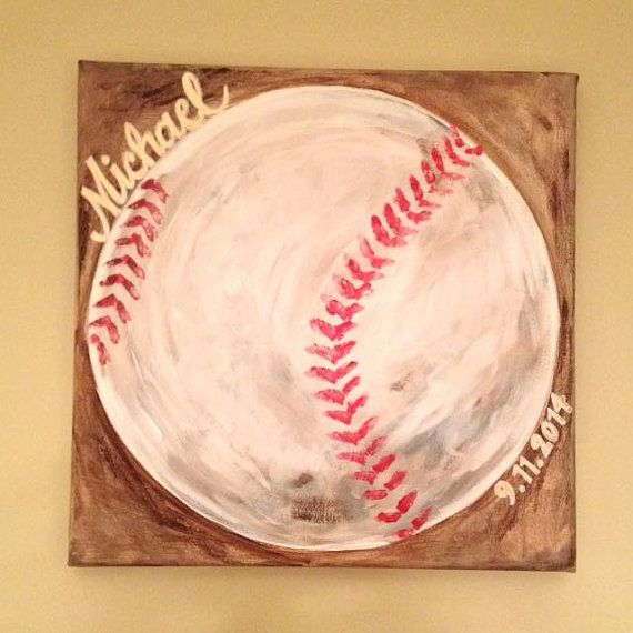 Baseball Wall Art Baseball Painting Baseball by theRedheadedArtist