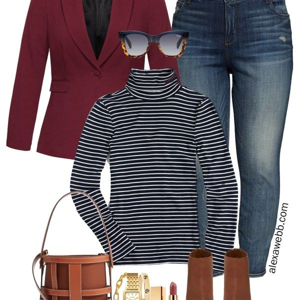 Plus Size Burgundy Blazer Casual Outfit 17