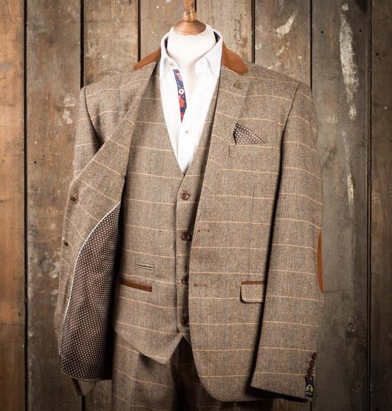 Marc Darcy DX7 Tweed Herringbone Check Suit Jacket - Tan - Master Debonair - 2