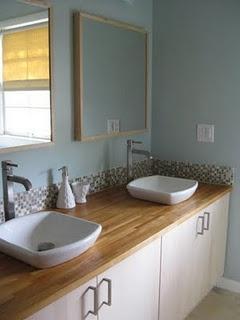 IKEA hack bathroom remodel vanity using the AKurum Top Refrigerator cabinets and wall mount vanities.