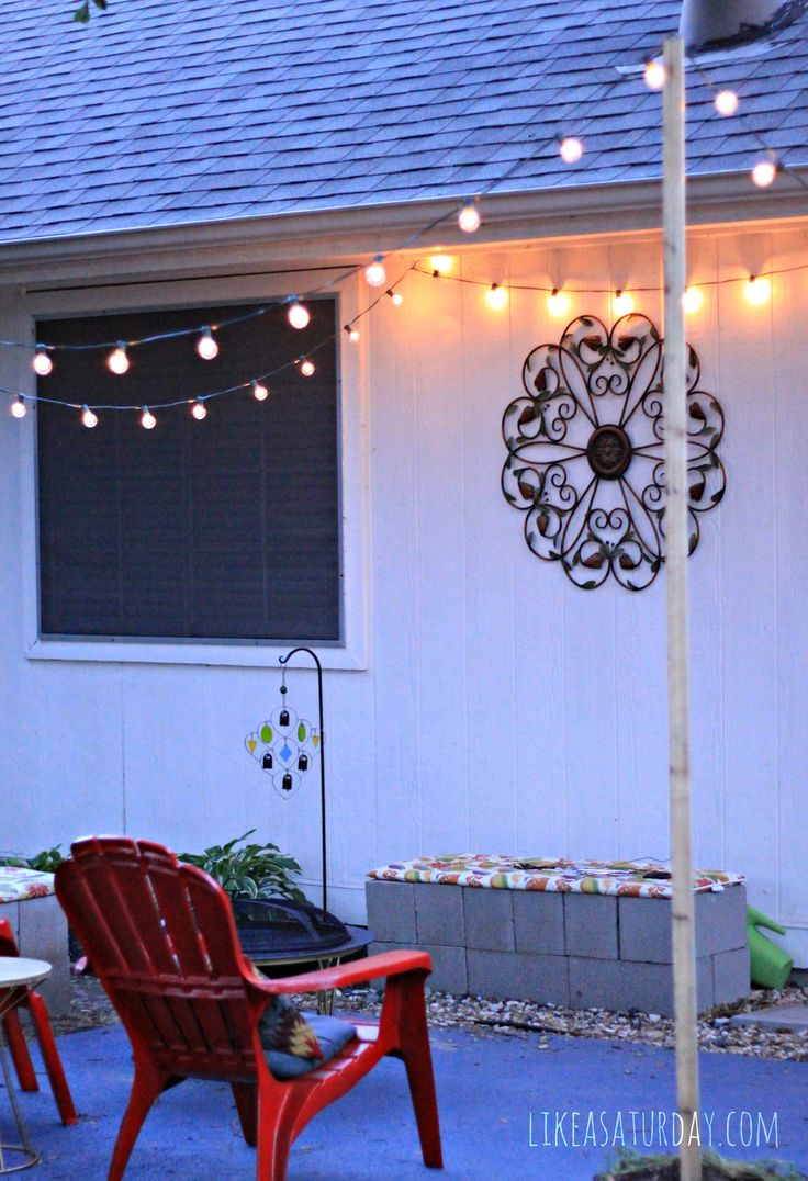 how to hang patio string lights if you don't have anything to fasten to...