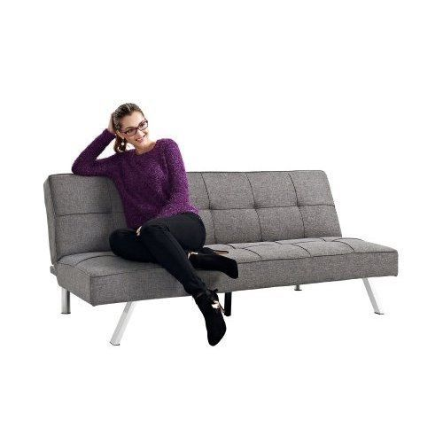 Sofa Futon Solid Wood Frame Modern Stylish Linen Bed Lounge Couch Sleeping Space #LinenBedLoungeSofaFuton